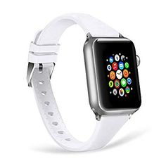 WISHTA Compatible with Apple Watch Band Slim iWatch Bands Soft Silicone Sport Band Replacement Wristband Compatible with Apple Watch Series (Red, Apple Watch Series 3, Apple Watch Bands, Amazon Buy, Cool Things To Buy, Stuff To Buy, Cell Phone Accessories, Smart Watch, Watches, Lovers