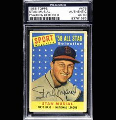 Stan Musial 1958 Topps Signed Autographed Auto PSA DNA 83761583   eBay #standmusial #musial #1958 #topps #signedcard #autograph