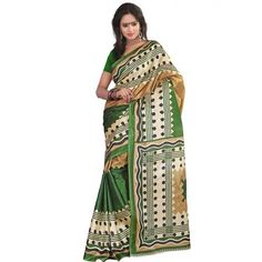 Shining Green Color Art Silk Printed saree at just Rs.399/- on www.vendorvilla.com. Cash on Delivery, Easy Returns, Lowest Price.