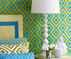 Geometric wallpaper and pillows.