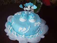Modele Tort: TORT BOTEZ BAIETEL Baby Shower Cakes For Boys, Baby Boy Shower, Cake Creations, Cupcake Cookies, Beautiful Cakes, Desserts, Blue, Tailgate Desserts, Deserts
