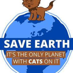 'Save Earth - It's the only planet with cats on it' Sticker by Framed Prints, Canvas Prints, Art Prints, Cool Stickers, Cool T Shirts, Planets, Duvet Covers, Classic T Shirts, Stamp