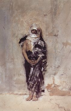 Mariano Jose Maria Bernardo Fortuny y Carbo (1838-1874) Moroccan Man, Watercolor on paper, 1869