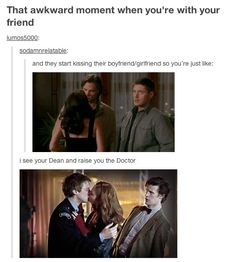 The Doctor's reaction is better. But lets be honest both Sam and Dean were feeling very awkward in that scene with fake Ruby coming up and kissing Sam. Amy and Rory were just having the time of their lives.