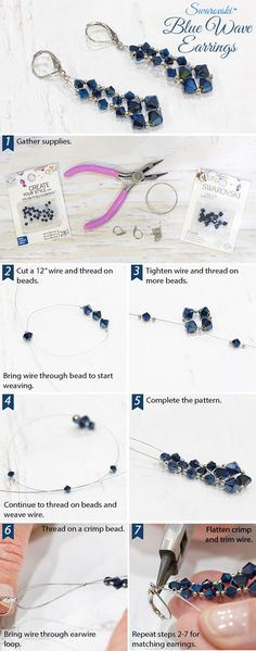 #DIY #Swarovski Blue Wave #Earrings #jewelry