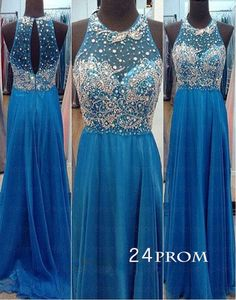 Custom Made Blue Chiffon Long Backless Prom Dresses, Evening Dresses, – 24prom