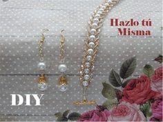 SET DE BRAZALETE Y ARETES EN PERLAS | Paso a Paso DIY Glass Jewelry, Wire Jewelry, Jewelry Sets, Beaded Jewelry, Jewelry Making, Beaded Earrings, Beaded Bracelets, Earring Tutorial, Bead Weaving