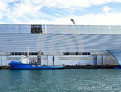 Detail of a blue tug boat in the harbour of la spezia