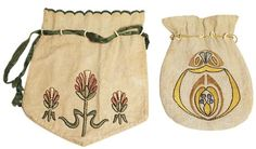 "239.	Arts & Crafts purse, embroidered stylized floral design in green, peach, and black on linen, ribbon draw string closure, 14"" x 12.5""; with an Arts & Crafts purse, both ca. 1908-1913, embroidered design in blue, gold and black, with pull string closure, 12"" x 8.5"", very good condition 150-250"