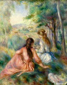 """Estão entre suas obras mais famosas: Rose et Bleue (1881) e """"Ao piano"""" (1893) Confira algumas delas neste post abaixo, lindas obras de artes artista Renoir"""