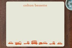 Orange Cars Children's Personalized Stationery by Baumbirdy at minted.com