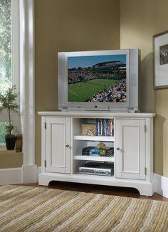 "New Home Styles Bedford 50"" White Finish Corner TV Entertainment Wood Stand Unit | eBay"