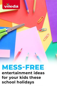 School holiday fun can be done without all the mess. Steer clear from the goo and keep the kids entertained with these mess-free, fun activities:  1. Easy origami makes for a fun craft without all the cutting and colouring. Try have them create animals and help them add the little details when they're done.   2. Try sticker arts - for a mess much less perminent mess than markers or paints! Draw basic outlines that the kids can bring to life with coloured dot stickers. Easy Origami, Free Fun, School Holidays, Outlines, Cleaning Products, Colouring, Fun Activities, Holiday Fun, Fun Crafts