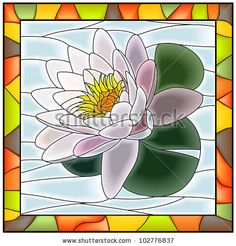stock vector : Vector illustration of flower white water lily stained glass…