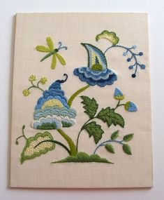Stunning vintage crewel embroidery folk by plainandfancyvintage $48.00 #crewelembroidery