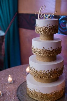 Isn't this one just beautiful? #gold #cake #tiered #love #topper #wedding #reception #Arizona #RoyalPalmsResort #Scottsdale #ParadiseValley #ALWE #destination #weddingplanner #andrealeslieweddings // Planning & Coordinating - Andrea Leslie Weddings & Events // Photography - I Do Photography // Venue - Royal Palms Resort, AZ // Entertainment - Push Play Entertainment, The JJ's Band // Flowers - LUX Wedding Florist, AZ // Rentals - Us to U Rentals, Event Rents //