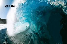 Deep in a big Pipeline barrel on Oahu, Hawaii.