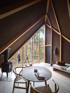 Danish architecture firm BIG creates the first prototype A-Frame cabin for new prefab tiny home startup Klein Big Design, Tiny House Design, Modern Design, Off Grid Tiny House, Tiny House Cabin, A Frame Cabin, A Frame House, Light Hardwood Floors, Tiny Cabins