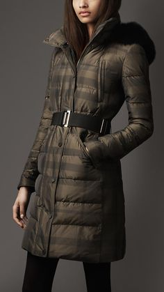 Check Quilted Fur Detail Coat | Burberry