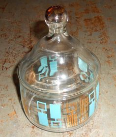 Vintage Canister, Glass, Jar with Lid, Retro, Atomic, Turquoise, Gold, Glass Canister