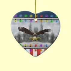 USA Patriotic Eagle Heart Christmas Double Sided Ornament $18.75 by XG Designs NYC. #eagle #patriotic #ornament