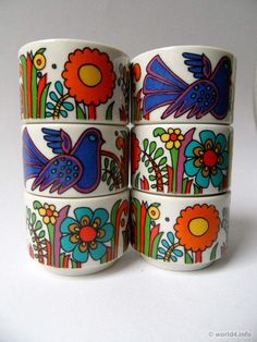 'Acapulco' by Villeroy & Boch is a Mexican-inspired pattern with colourful stylised trees flowers and birds originally used by the company in