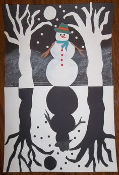 Snowy Scene silhouette, negative and positive space, cutting skills, mirror image, symmetry