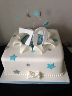 70th birthday cake in turquoise and silver