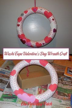 How to make a simple but gorgeous pink and red wreath for Valentine's Day using heart washi tape and foam hearts. via @ParentingPatch