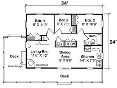 Cabin Traditional House Plan 20003