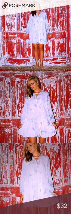 ❤️FINAL SALE❤️ Tie-dye A line dress Tie-dye long sleeve dress.  Model is wearing a S. Dresses Midi