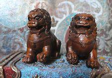 Pair Hand Carved Chinese Miniature Box Wood Foo Fu Lion Dogs Figurines -Netsuke