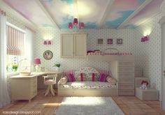 Girl Room Ideas With White Wall Color With Acanthus Pattern And Wooden Floor Also White Fur Rugs And Platform Bed With Floral Pattern Covered Bedding Sheet Also Stripes Pattern Pillows And Bunk Bed Also Stair Drawers And Wooden Storage Cabinet And Drawers Also Study Desk With Swivel Chair Also Table Lamp And Glass Windows Also Stripes Blinds And Pendant Lamp of Amazing Cool Interior Design Ideas For Girl Rooms from Interior Ideas