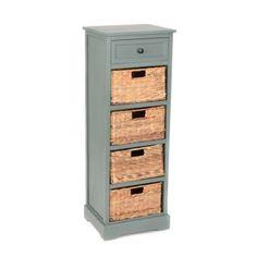 Blue 5-Drawer Storage Chest with Baskets | Kirklands  sc 1 st  Pinterest & Black Iron Frame Drawer Wicker Storage Chest Dressers Home Bedroom ...