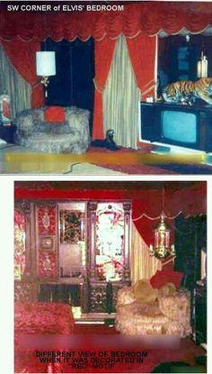 Dormitorio de Elvis, decorado en rojo.