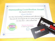 An example of the certificates with the prize the student won from the raffle.  10 box tops = 1 raffle entry