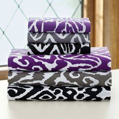 """""""Urban Ikat"""" sheets in purple and white.  Come in an XL twin."""