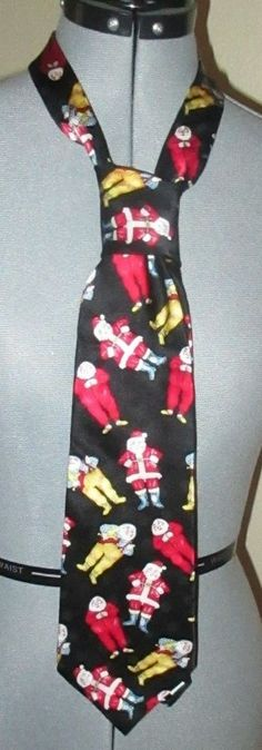 Wembley Santa Christmas Neck Tie Pajamas Workshop 100% Silk #Wembley #NeckTie