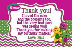 Barney Birthday Thank you card