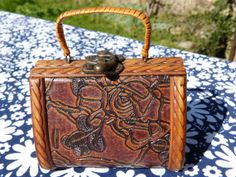 Brown carved wood roses decor box purse with metal latch - French 60s 70s vintage