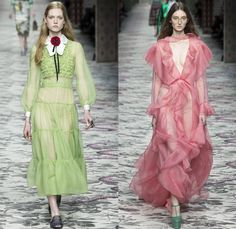 Gucci 2016 Spring Summer Womens Runway Catwalk Looks Designer Alessandro Michele - Milano Moda Donna Milan Fashion Week Italy - Silk Satin Sheer Chiffon Knit Lace Crochet Jacquard Flowers Floral Motif Ornamental Embroidery Sequins Pussycat Bow Ribbon Outerwear Coat Pantsuit Pant Suit Trouser Suit Crop Top Midriff Bralette Motorcycle Biker Leather Maxi Dress Goddess Gown Necktie Ruffles Tiered