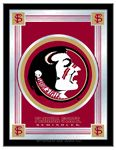 "Florida State Seminoles Logo MirrorThe perfect way to show your team spirit, this logo mirrordisplays your school's symbols with a style that fits any setting. Withit's simple but elegant design, colors burst through the 1/8"" thickglass and are highlighted by the mirrored accents.&nbsp"