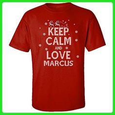 Keep Calm And Love Marcus Ugly Christmas Sweater - Adult Shirt L Red - Holiday and seasonal shirts (*Amazon Partner-Link)