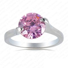 Fashion Round Pink Crystal Ring Platinum Plating Engagement Ring Made With SWA Elements Austrian Crystal 22*10mm Ri-HQ0249-b US $3.76