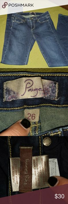 Paige Peg Skinny Blue Jeans, 26 You are purchasing Paige Peg Skinny blue jeans. They are a size 26 with an inseam of 31. Paige Jeans Jeans Skinny