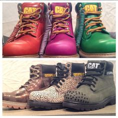 Bold Colors vs. Bold Textures? It's our women's Colorado boot for Fall #2014! #orange #pink #green #metallic #leopardprint #studs