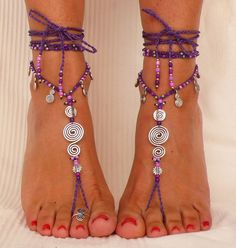 Purple SPIRAL BAREFOOT SANDALS foot jewelry hippie sandal toe ring anklet crochet sandals tribal festival beach ethnic yoga wedding