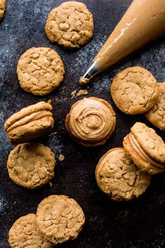 chewy peanut butter cookie sandwiches