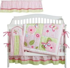 $101.11-$169.99 Baby Kids Line Bella 6 Piece Crib Bedding Set - The Bella 6 Piece Nursery Crib Bedding Set features a butterfly and floral design theme in shades of light pink, sage green and cream. The nursery bedding set includes a crib quilt, crib bumper, dust ruffle, diaper stacker, fitted crib sheet and window valance. http://www.amazon.com/dp/B002WQVLM6/?tag=pin2baby-20