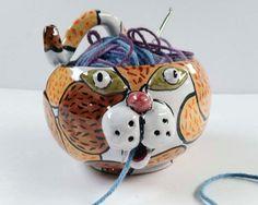 Ceramic Yarn Bowl  Cat Face Yarn Bowl  by ClayLickCreekPottery